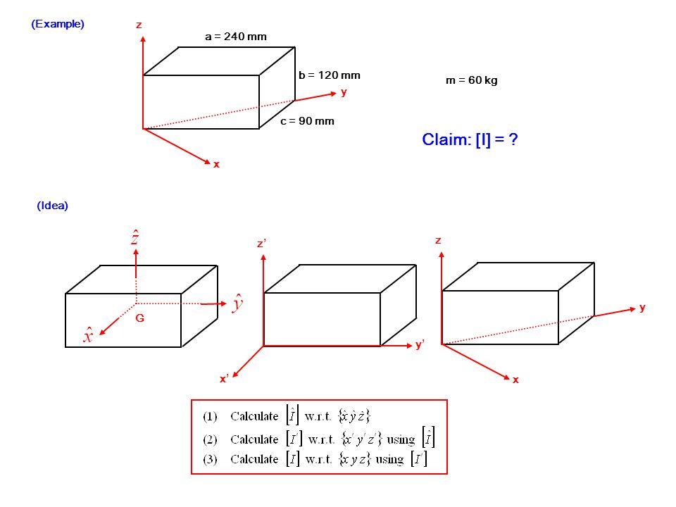 Claim: [I] = (Example) z a = 240 mm b = 120 mm m = 60 kg y c = 90 mm